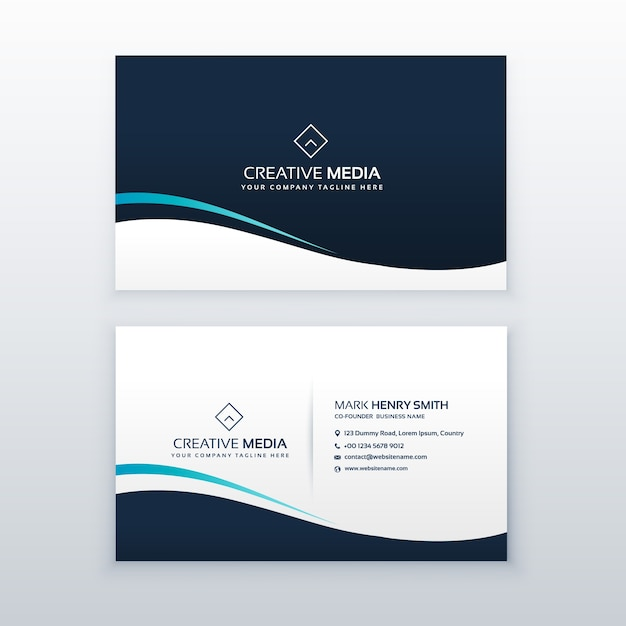 simple dark wavy business card design free vector - Simple Business Card Design
