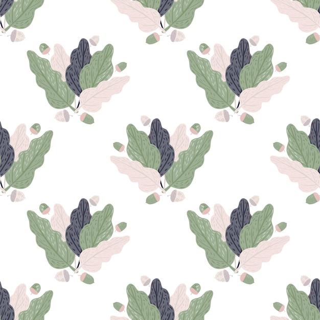 Простой декоративный бесшовный образец с орнаментом из листьев. Premium векторы