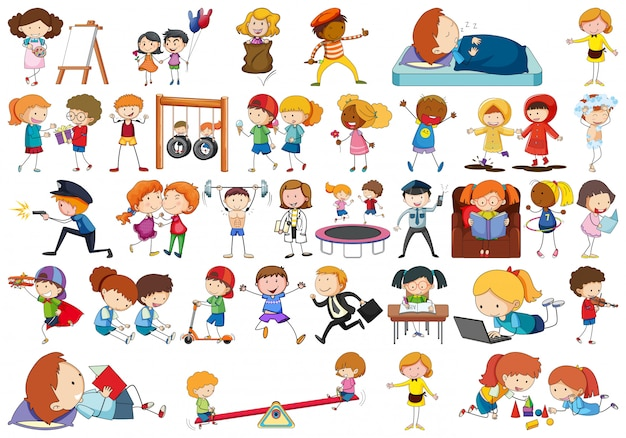 Simple doodle style kids in a set Free Vector