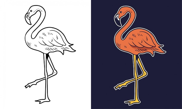 シンプルな描画ピンクのフラミンゴピンクの美鳥夏の動物。漫画キャラクターイラストプリントtシャツデザインステッカーパッチファッショントレンディな要素。 Premiumベクター