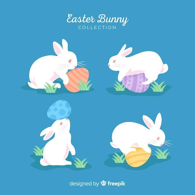 Simple easter bunnies collection Free Vector