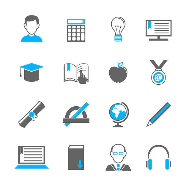 Simple education icons Free Vector