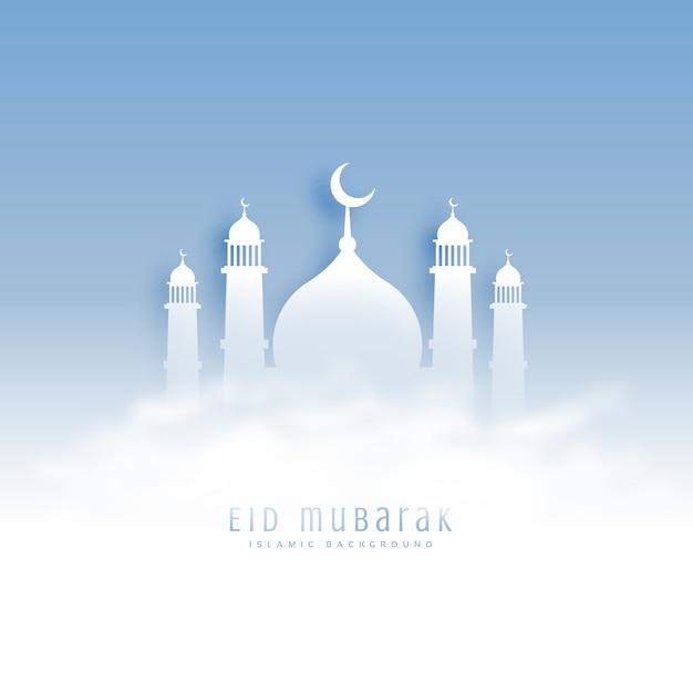 Эйд мубарак фон с мечетью и облаками Бесплатные векторы