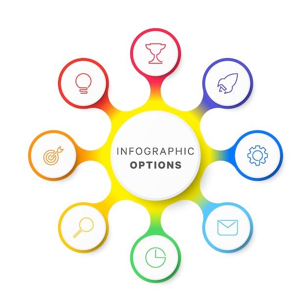 白のシンプルな8つのオプションデザインレイアウトインフォグラフィックテンプレート Premiumベクター
