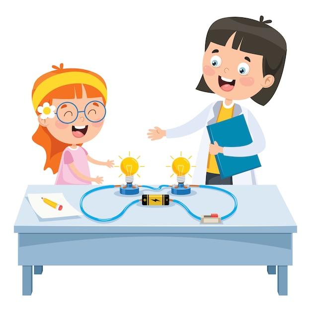 Simple electric circuit experiment for children education Premium Vector