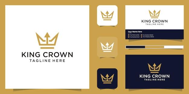 シンプルでエレガントな王冠と矢のロゴ、王国、王と指導者のシンボル、名刺 Premiumベクター