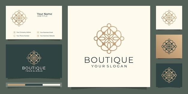 Simple and elegant floral monogram template,boutique gold logo design and business card  illustration  . Premium Vector