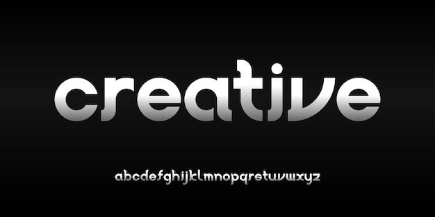 テクノロジーデジタル映画のロゴデザインのためのシンプルでエレガントなモダンなアルファベットフォントタイポグラフィアーバンスタイル Premiumベクター