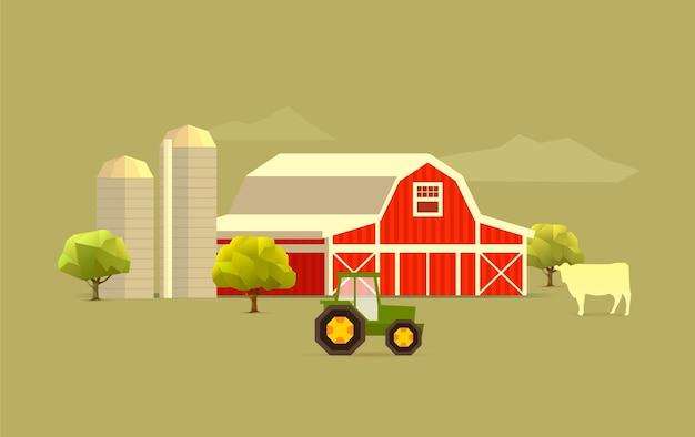 Simple farm landscape Premium Vector