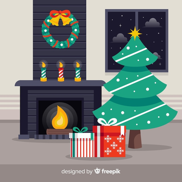 Simple fireplace christmas background Free Vector