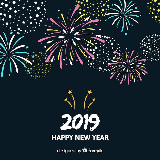Simple fireworks new year background Free Vector