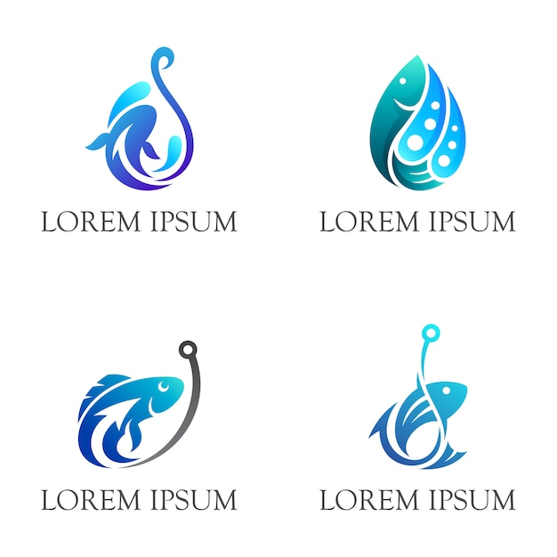 Simple fishing logo Premium Vector