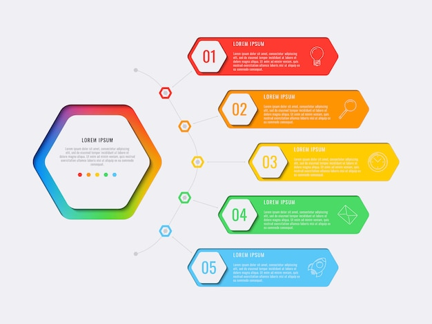 Simple five steps design layout infographic template with hexagonal elements. Premium Vector