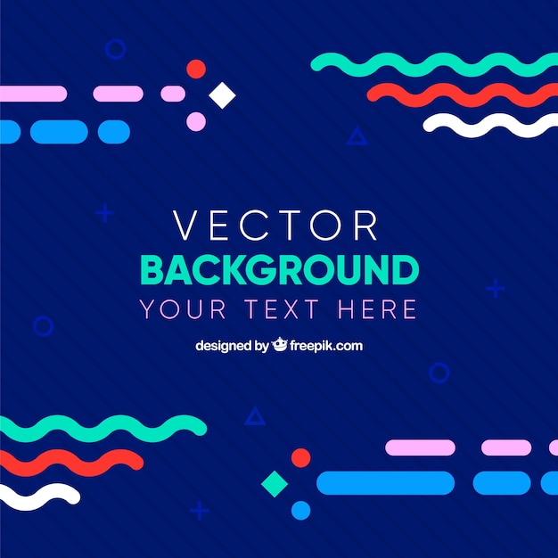 Simple flat background with colourful elements