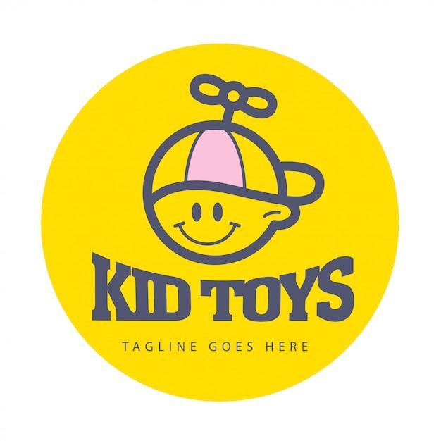 간단한 플랫 키드 로고. 아기, 어린이 용품, 장난감 가게, 상점, 달콤한 캔디 바 로고. 인간의 아이콘입니다. 어린이 아이콘, 모자 캐릭터에 행복 한 소년. 웃는 아이 플랫 Portriat 흰색 배경에 고립. 프리미엄 벡터