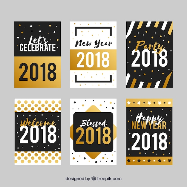 simple flat new year cards with golden elements free vector