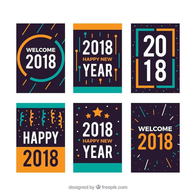 simple flat new year cards free vector