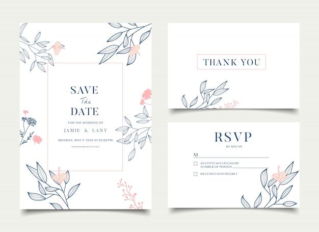 Simple floral wedding card Premium Vector