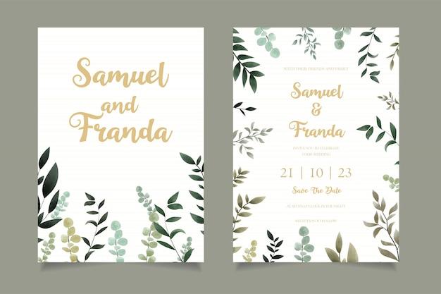 premium vector  simple floral wedding invitation card