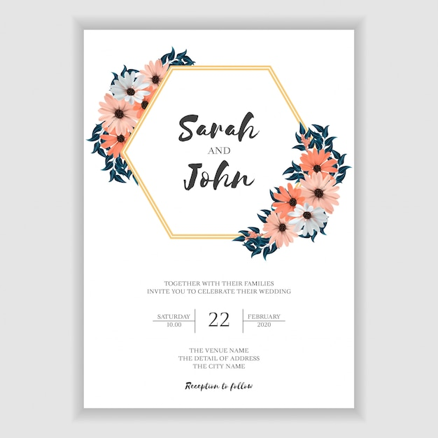 Simple Floral Wedding Invitation Card Template Vector