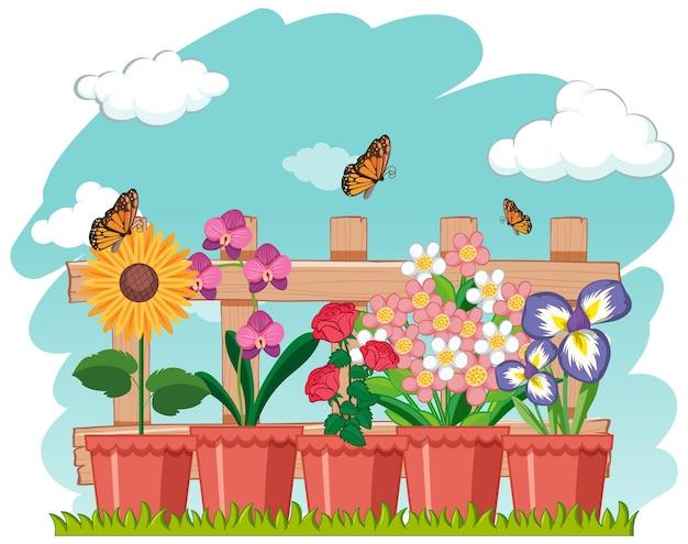 蝶と鍋のシンプルな花 無料ベクター