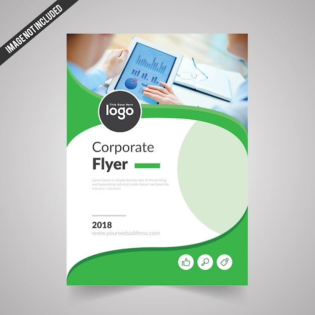 Simple Flyer Template With Green Color Vector Premium Download