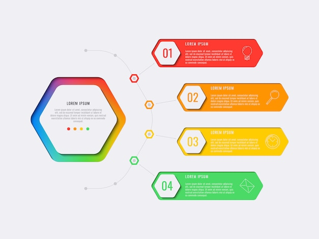 Simple four steps design layout infographic template with hexagonal elements. Premium Vector