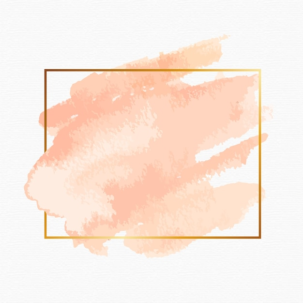 Simple golden frame with watercolor stain Free Vector
