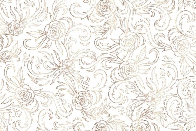 Простой золотой декоративный цветочный фон Бесплатные векторы