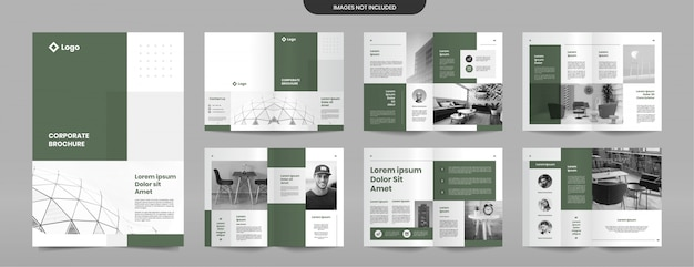 Simple green brochure pages design template Premium Vector