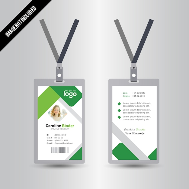 Simple Green Id Card Template Vector   Premium Download