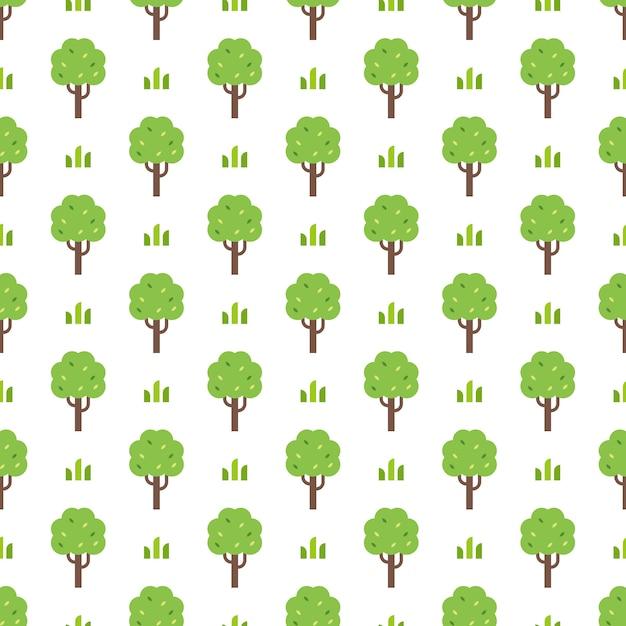 シンプルな緑の木のパターン Premiumベクター
