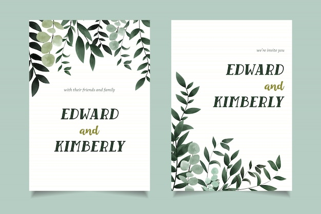 Simple green watercolor invitation card template design Premium Vector