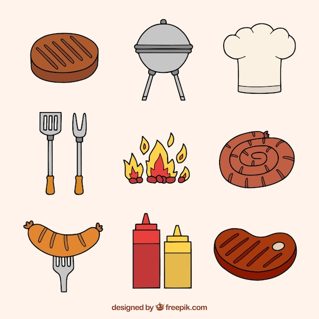 Simple hand drawn bbq elements Free Vector