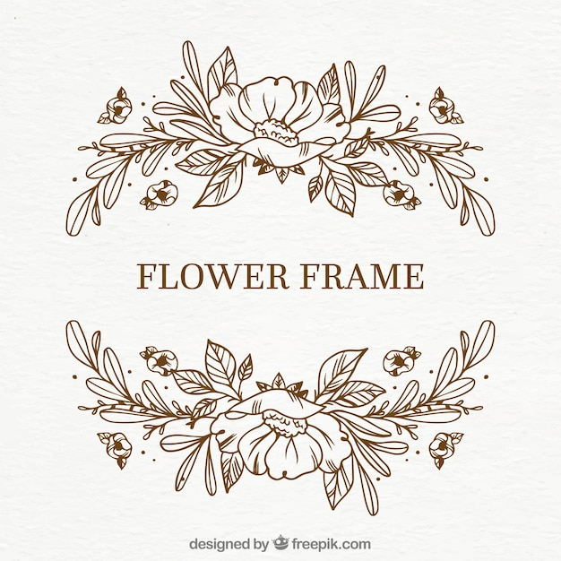Simple hand drawn floral frame Free Vector