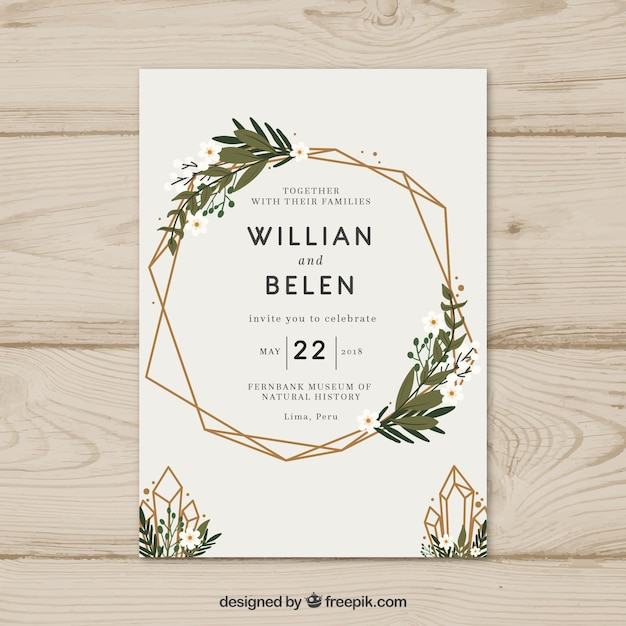 Simple hand drawn wedding invitation with a wreath Premium Vector