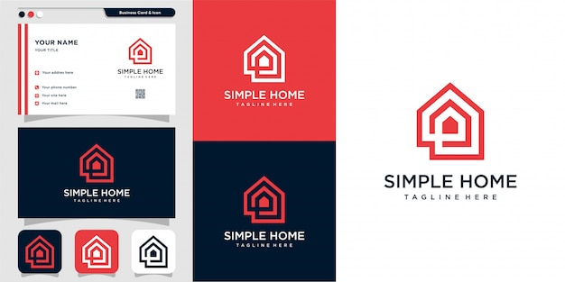 Simple home logo with outline style and business card design, home, real estate, line art, outline, Premium Vector