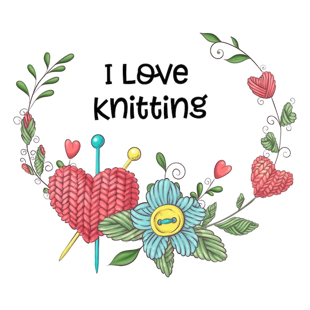 Simple illustration with knitting needle Premium Vector