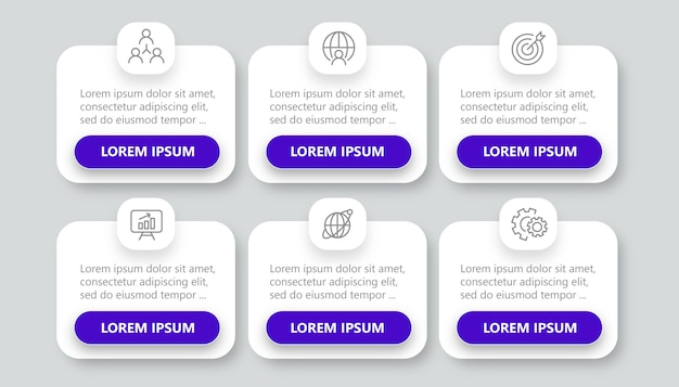 Simple infographic with 6 options Premium Vector