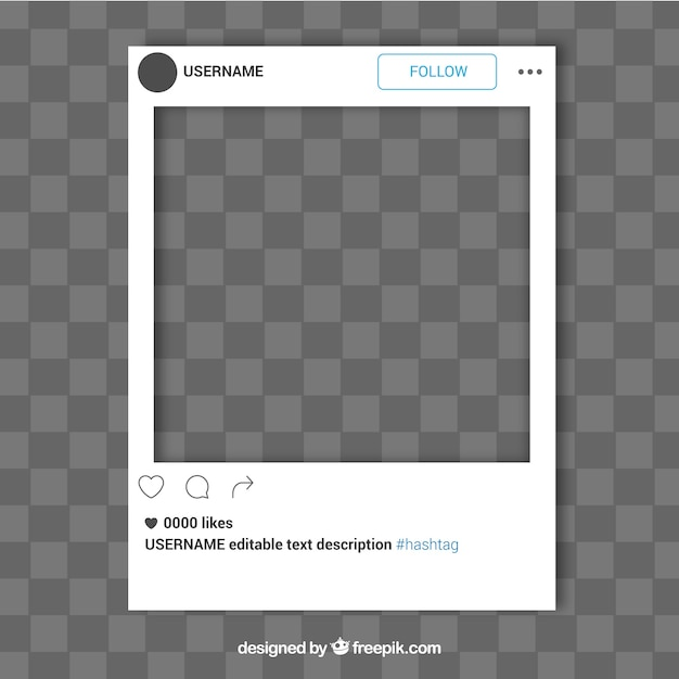Simple instagram frame template Free Vector