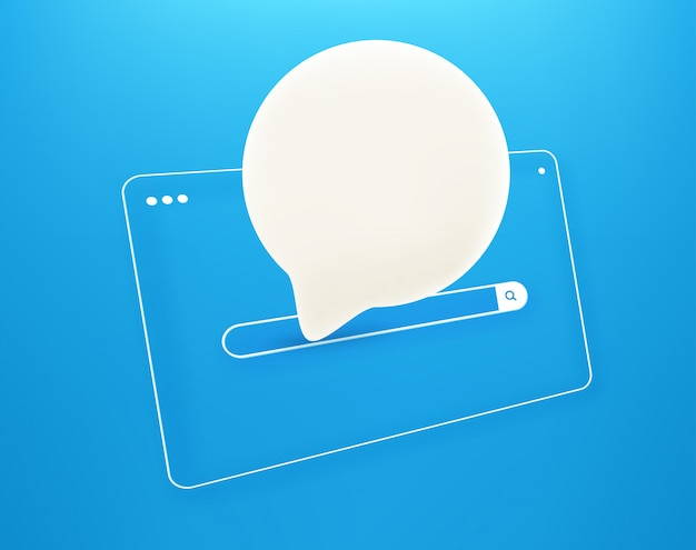 Simple internet browser window with speach cloud in perspective Premium Vector