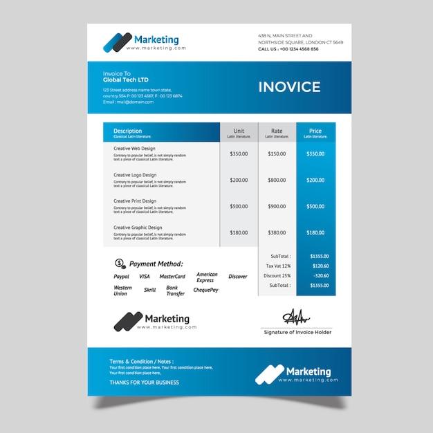 Simple invoice template Premium Vector