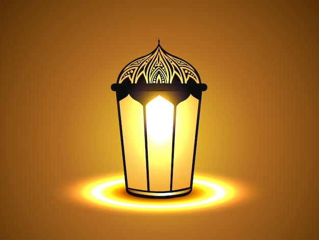 Simple Islamic Background With Lantern Vector