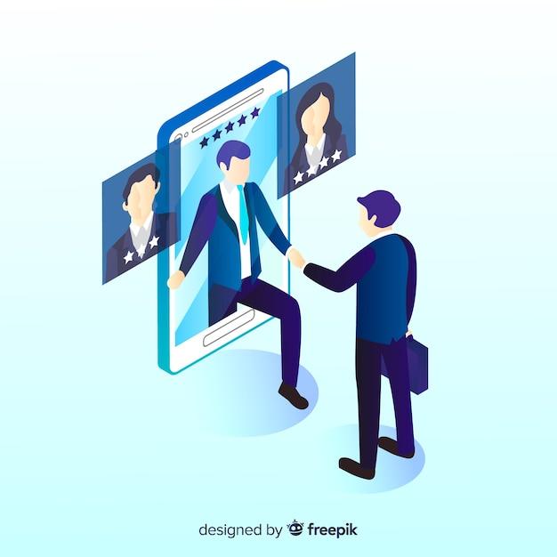 Simple isometric hiring illustration Free Vector