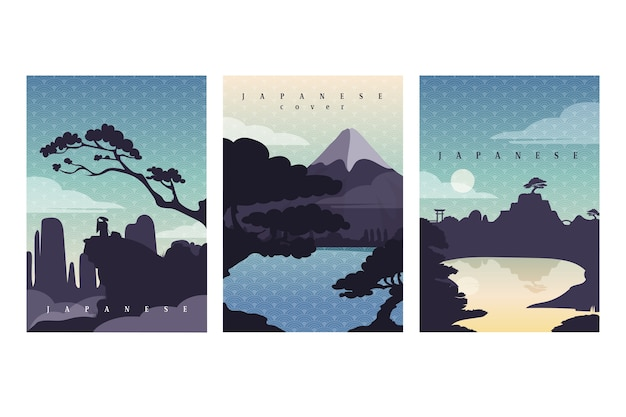 Simple japanese cover collection Free Vector