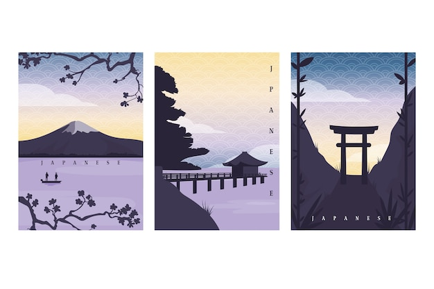 Simple japanese cover set Free Vector