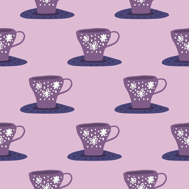 液体のカップとシンプルなキッチン飾りパターン。紫と薄紫色のパレット。様式化された落書きプリント。 Premiumベクター