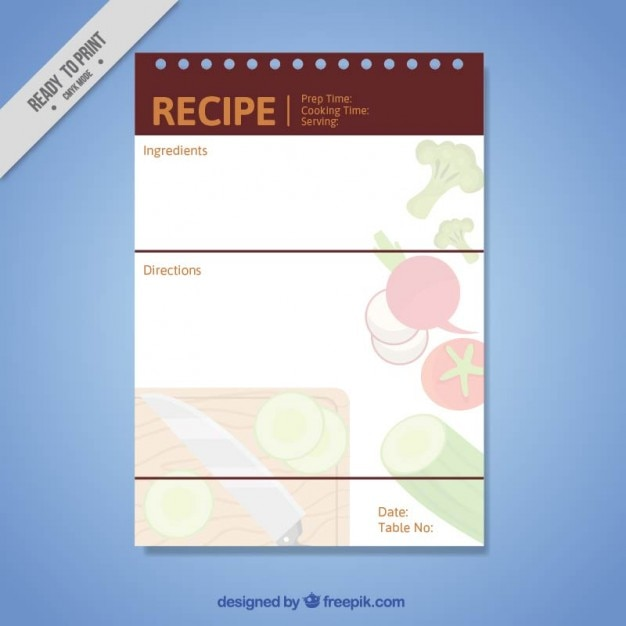 Simple kitchen recipe template Vector | Free Download