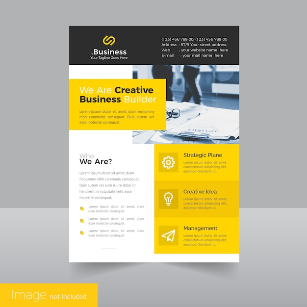 simple leaflet flyer design template premium vector