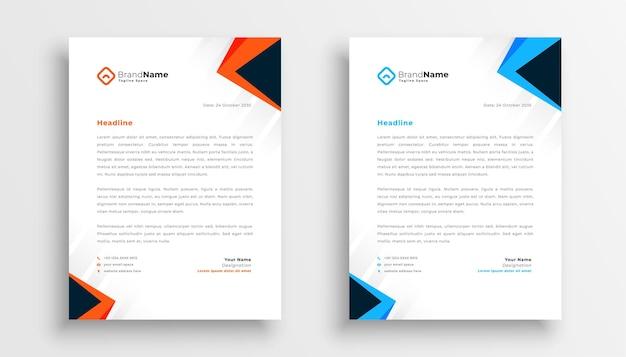 Простой дизайн бланков из двух в геометрическом стиле Бесплатные векторы